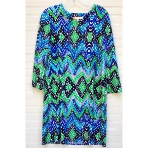Jude Connally Lexi OceanWaves Shift Dress Large